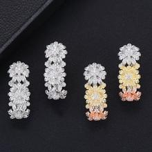 Siscathy Brand New Design Popular Flower Stud Earrings For Women Full Mirco CZ Cubic Zircon Wedding Jewelry