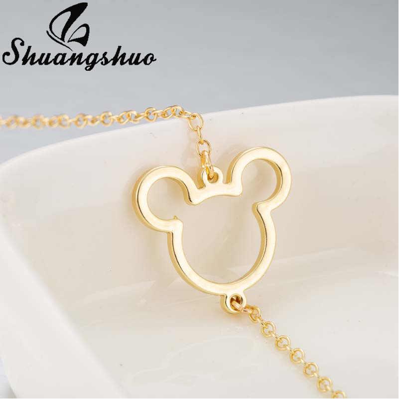 Shuangshuo évider Mickey bracelets pour femme Bracelet en argent dessin animé souris en acier inoxydable femme bracelets porte-bonheur bijoux