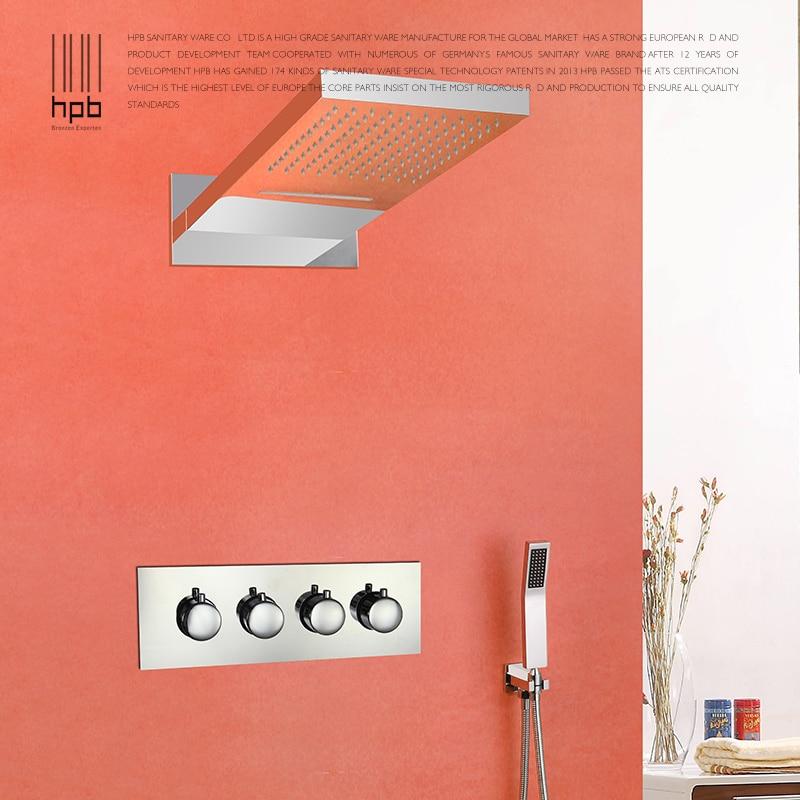 Salle de bain complet cuivre chaud et froid mur monté douches set système de douche gicleur contrôle des précipitations caché 1210