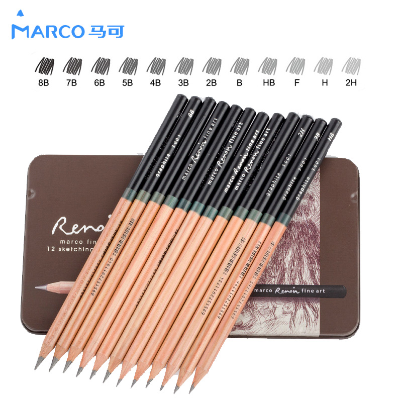 Marco 12Pcs 2H-9B Craft Pencils Drawing Sketching Pencil Set For School Student Sketch Gift Stationery Art Supplies lapis de cor