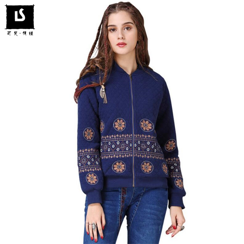Women Vintage National Style Patterns Fine embroidery Coat Autumn   Jacket   for Women Cotton Breasted Elegant   Basic     Jackets   Female