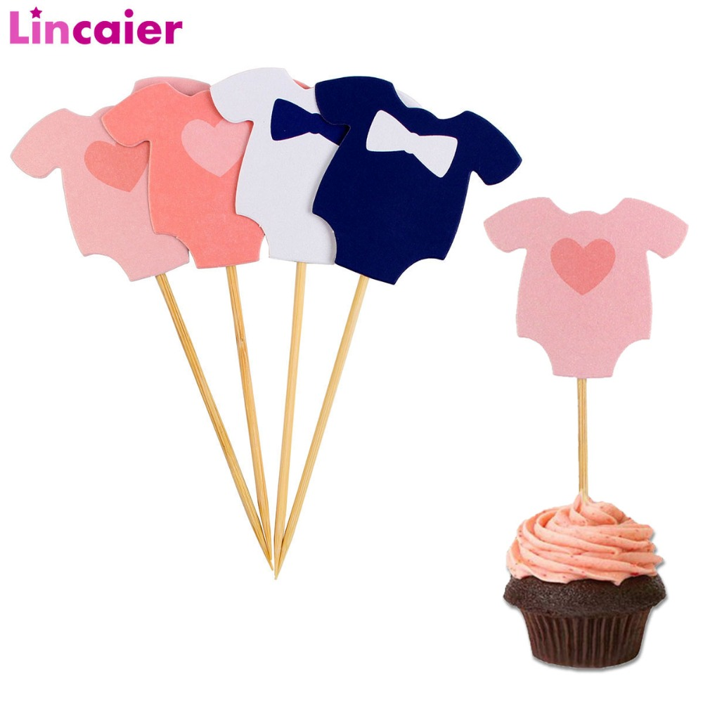 Lincaier 10Pcs Baby Shower Its A Boy Girl Clothes Cupcake Toppers Birthday Party Decorations Kids Favors Supplies Babyshower