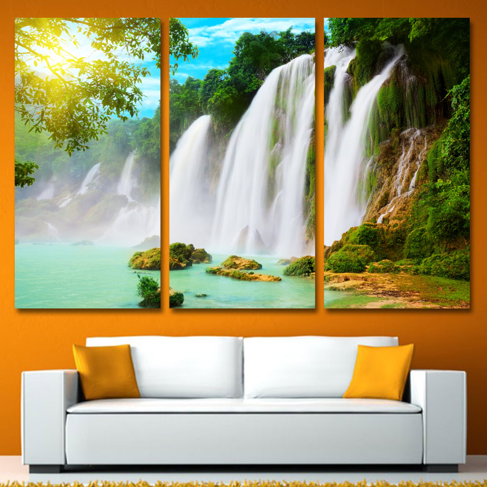 Sale Direct Selling 3 Panels Canvas Art Waterfall Spray Sunshine Home Decor Wall Painting Prints Pictures For Living Room