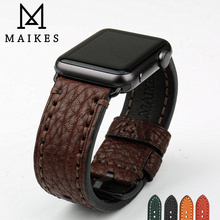MAIKES Leather Watchbands For Apple Watch Band Series 44mm 40mm Watch Accessories Apple Watch Strap 42mm 38mm iWatch 4 3 2 1 tjp series 2 1 genuine brown vintage italy calf leather watchbands strap for apple watch iwatch 38mm 42mm wristband with adapter