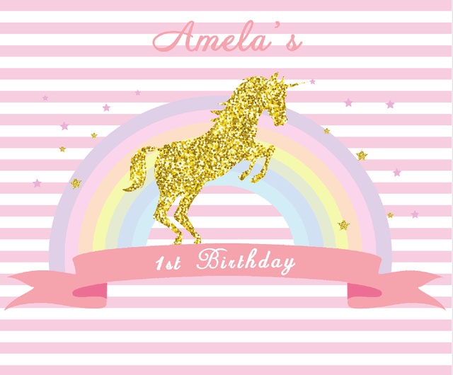 Excellent Unicorn birthday party backrop, dessert table banner photography  RP39