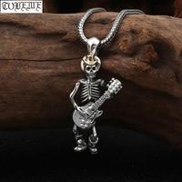 100% 925 Silver Skeleton Pendant Necklace 925 Sterling Skull Guitar Rock Pendant Necklace Hip Hop Pendant Necklace