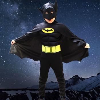 2019 дети мальчик мускулистый Бэтмен комический супергерой DC персонажа фильма Косплэй фантазии карнавальное платье для косплея вечерние кос...