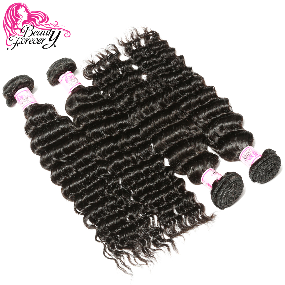 BEAUTY FOREVER Peruvian Hair Deep Wave Human Hair Weaves 4 Bundles 100 Remy Hair Weft Natural