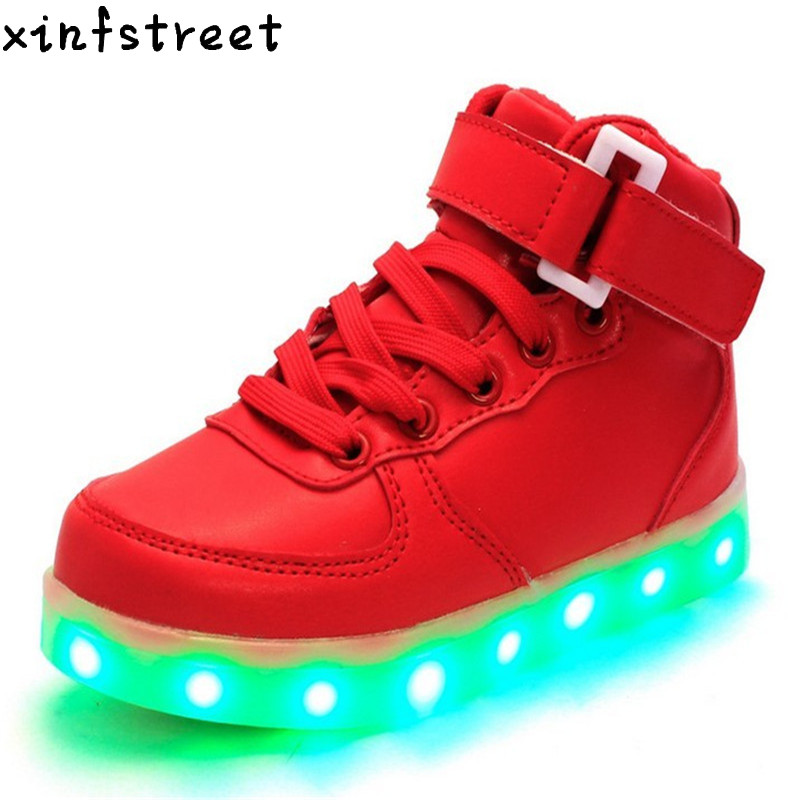 Led Shoes Kids Luminous Sneakers USB Charging Girls Boys Light Up Shoes Hight Top Children Shoes With light Size 25-37 kids light up shose with wings children usb charging led light shoes sneakers luminous lighted boy girl shoes chaussure enfant