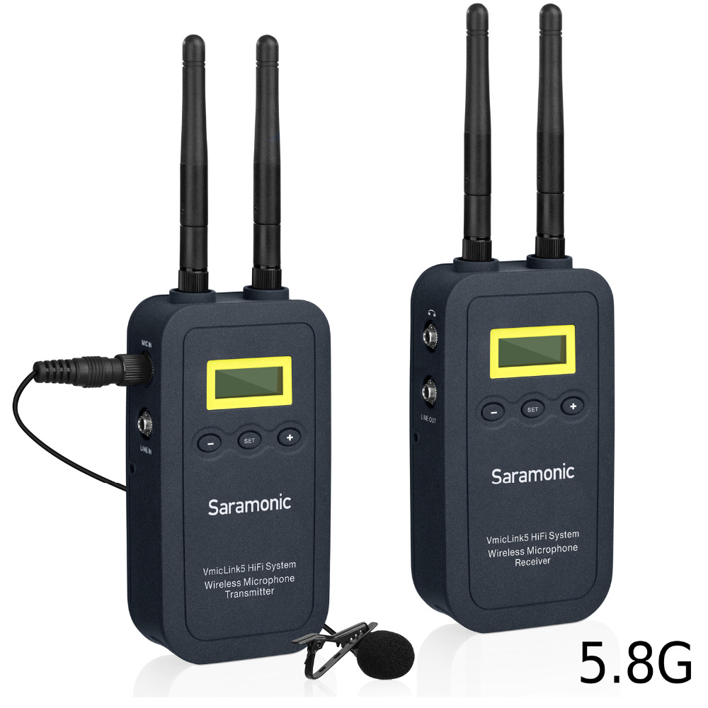 Saramonic VMicLink5 HiFi 5.8GHz Lavalier Lapel Wireless Microphone System for News Gathering & Reporting work with DSLR Camera saramonic vmiclink5 hifi 5 8ghz lavalier lapel wireless microphone system for news gathering