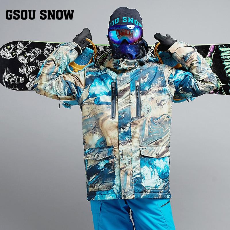 GSOU SNOW New Men's Skiing Suit Windproof Warm Thick Ski Jacket Outdoor Waterproof Wear-resistant Ski Coat For Male