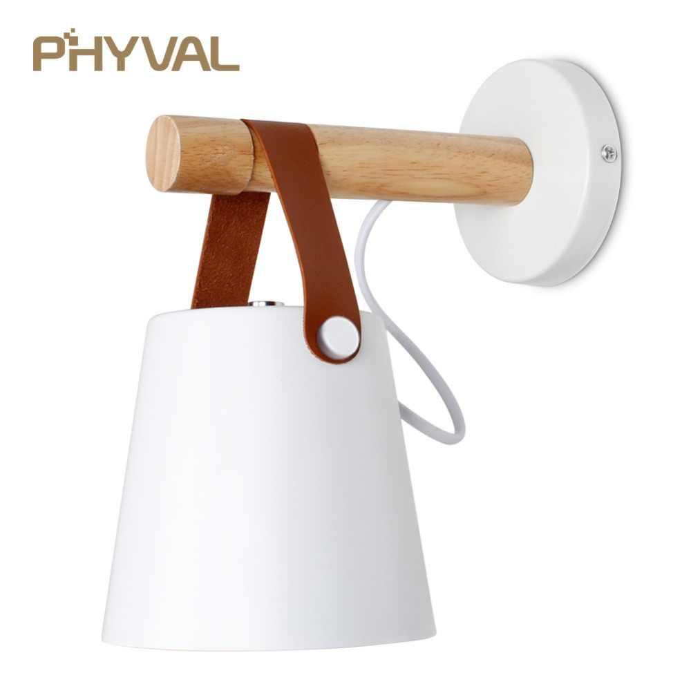 Светодиодный настенный светильник настенная деревянная лампа прикроватные фары ночные огни современный скандинавский абажур домашний декор белый и черный ремень E27 85-265 в