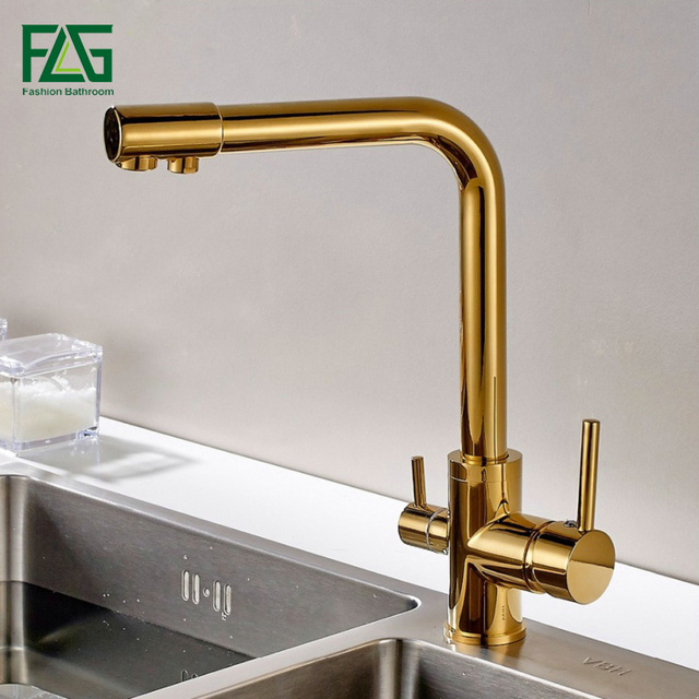 FLG 100% נחושת זהב סיים סיבוב שתיית מים ברז 3 דרך מים מסנן מטהר מטבח ברזי עבור כיורים ברזי 242 33B