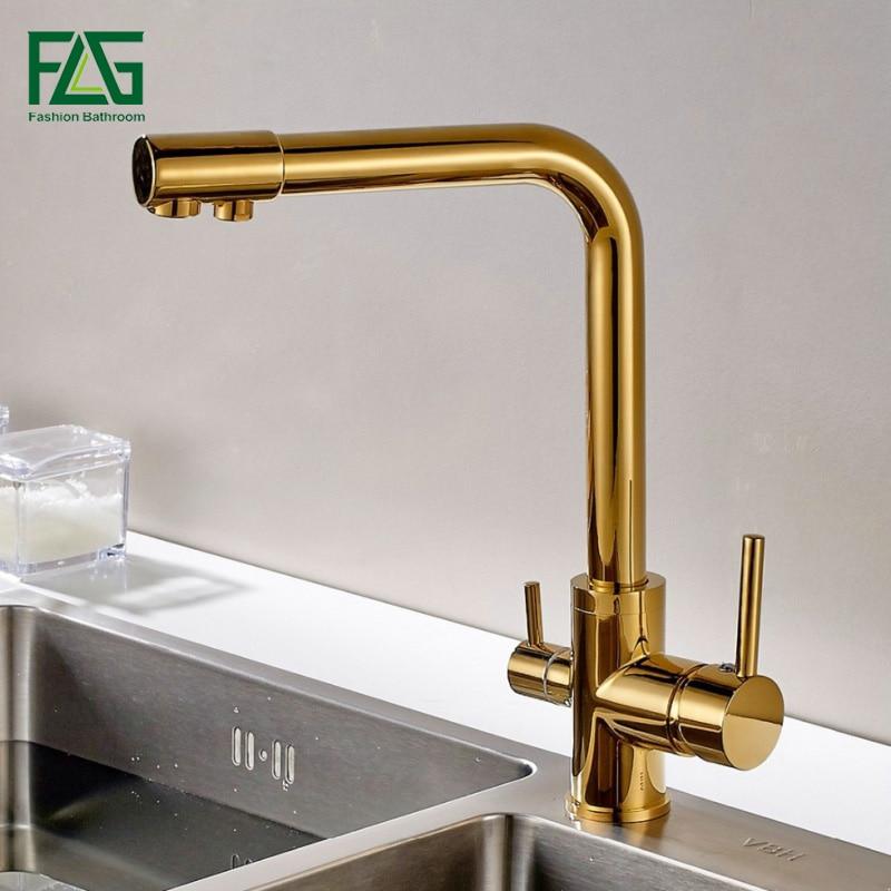 FLG 100% Cobre Ouro Terminado Swivel 3 Maneira de Beber Água Da Torneira do Filtro Purificador de Água Da Cozinha Torneiras Para Pias Torneiras 242-33B