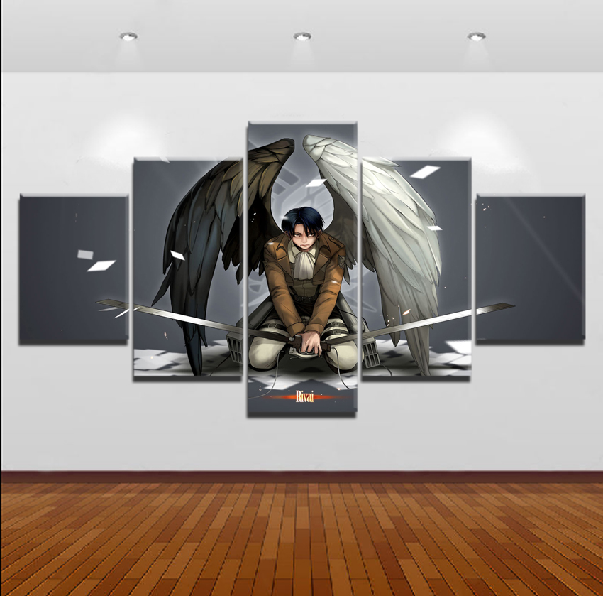 Modern Home Wall Art Decor Canvas Picture Print 5 Pieces Attack on Titan Levi Ackerman Painting For Living Room Anime Posters in Painting Calligraphy from Home Garden
