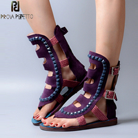 Prova Perfetto Rome Style Hollow Out Square Rivets Woman Boots Sandals Leisure Soft Flat Bottom Buckle