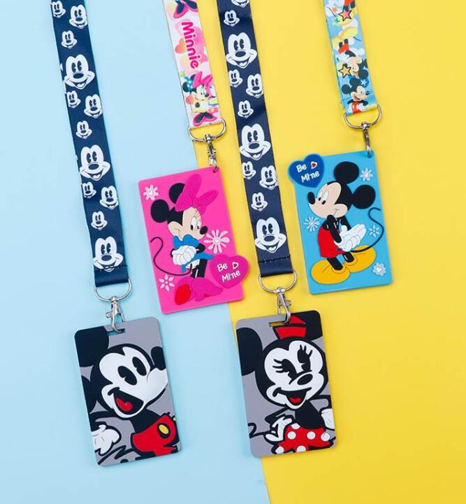 New   1 Pcs  Soft Silicone Cartoon Mickey Minnie  Sign Card ID Holder  With Hanging String Keychain TT-22