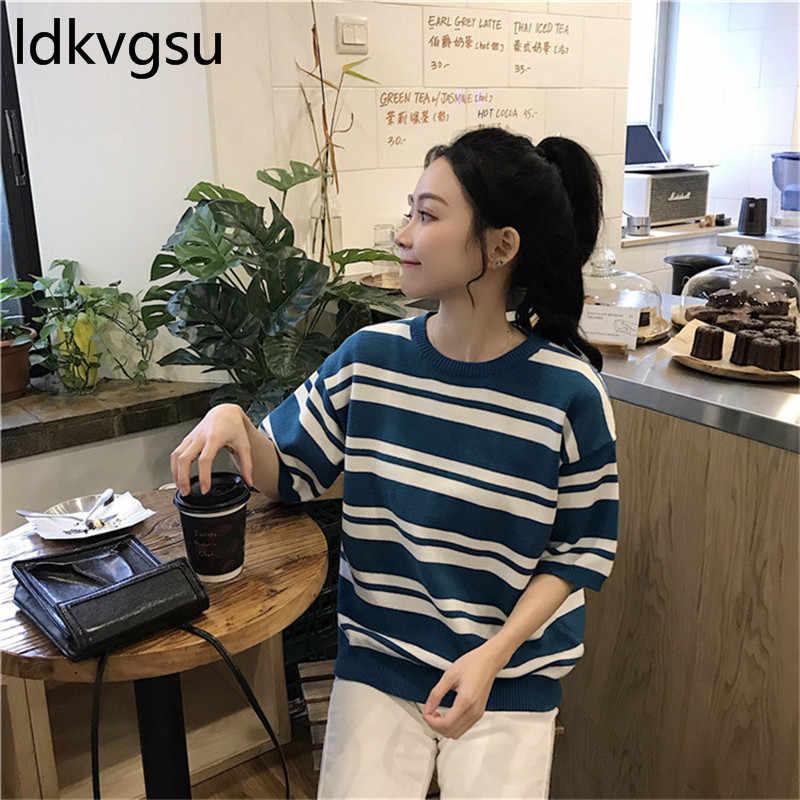 Повседневный вязаный свитер 2019, женский свободный пуловер в полоску, вязаный Топ, женские летние рубашки с круглым вырезом и коротким рукавом, блузка