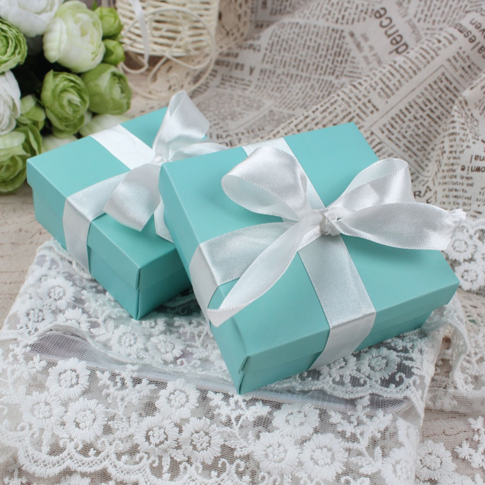 Beach Wedding Gift Bag Ideas: Ourwarm 50pcs Blue Kraft Paper Box Wedding Favors Candy