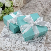 Ourwarm 50pcs Blue Wedding Favors Gifts For Guests Kraft Paper Candy Box Bride Groom Baptism Birthday Party Decoration