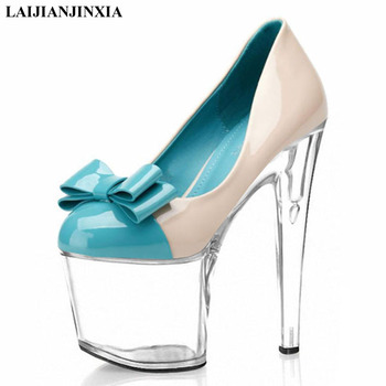 LAIJIANJINXIA New 20cm High Heel Platform Women Pumps Chunky Thick Spike Glitter Sequined Cloth Bling Wedding Party Dress Shoes