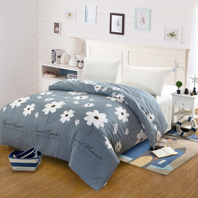 100 Cotton Pure Duvet Covers Set Simple White Flower Bedding Double Single Quilts Comforter Case King Queen Size