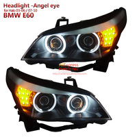 for BMW HALO 5 Series E60 523i 525i 530i Projector Headlights Assembly 2003 to 2010 year Angel Eye