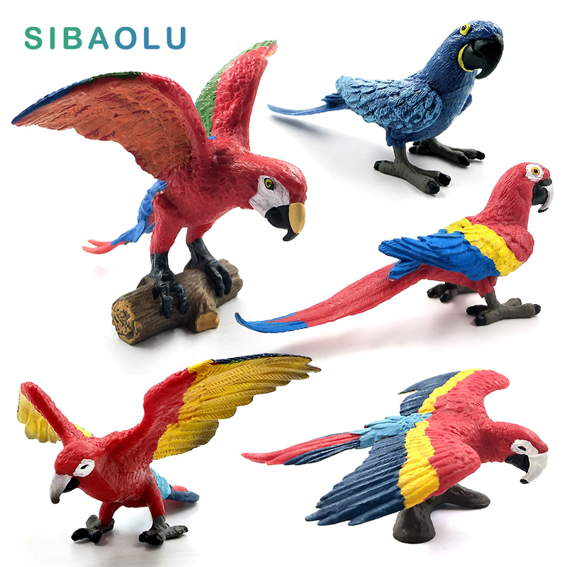 Simulation Mini Parrot Bird Figure Animal Model Figurine Home Decor Miniature Fairy Garden Decoration Accessories Modern Statue
