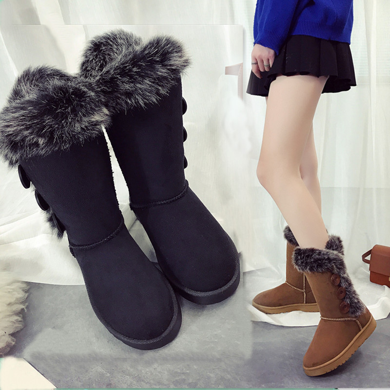 Neige Bouton Bottes Femmes Chaussures black Plat brown Hiver De Chaudes Imperméables Top Et Haute Camel Fourrure Mode Troupeau Brun ZxwqnHX0Y