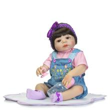 цены New 23 Inch/57cm Baby-reborn Girls Gender Full Silicone Body Reborn Baby Dolls Bebe Reborn Children Bonecas Juguetes Brinquedos