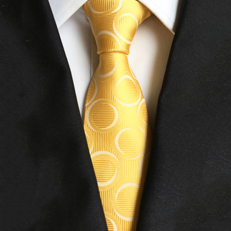 8CM Dot Pattern Yellow Mens Ties Fashion Business Suit Neckties Gravatas Brand New Silk Skinny Jacquard Neck Accessories