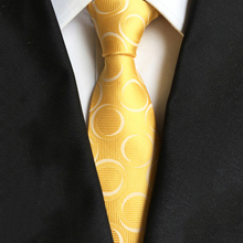 8CM Dot Pattern Yellow Mens Ties Fashion Business Suit Neckties Gravatas Brand New Silk Skinny Jacquard Neck Accessories