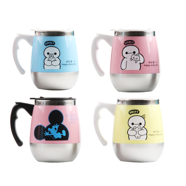 450ml Kids Cute Stainless Steel Thermal Drinkware Coffee Cups Tea Cup Thermos Insulated Travel Mugs