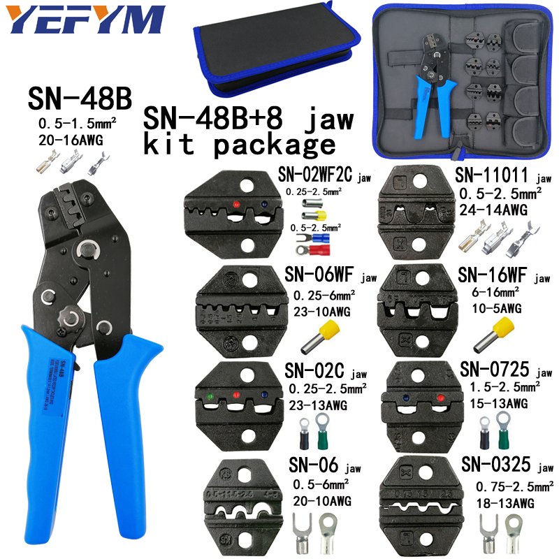 YEFYM crimping plier jaw SN-48B SN-02C SN-06WF SN-11011 SN-02W2C SN-0325 SN-0725 SN-16WF high hardness jaw suit tools sets цена и фото