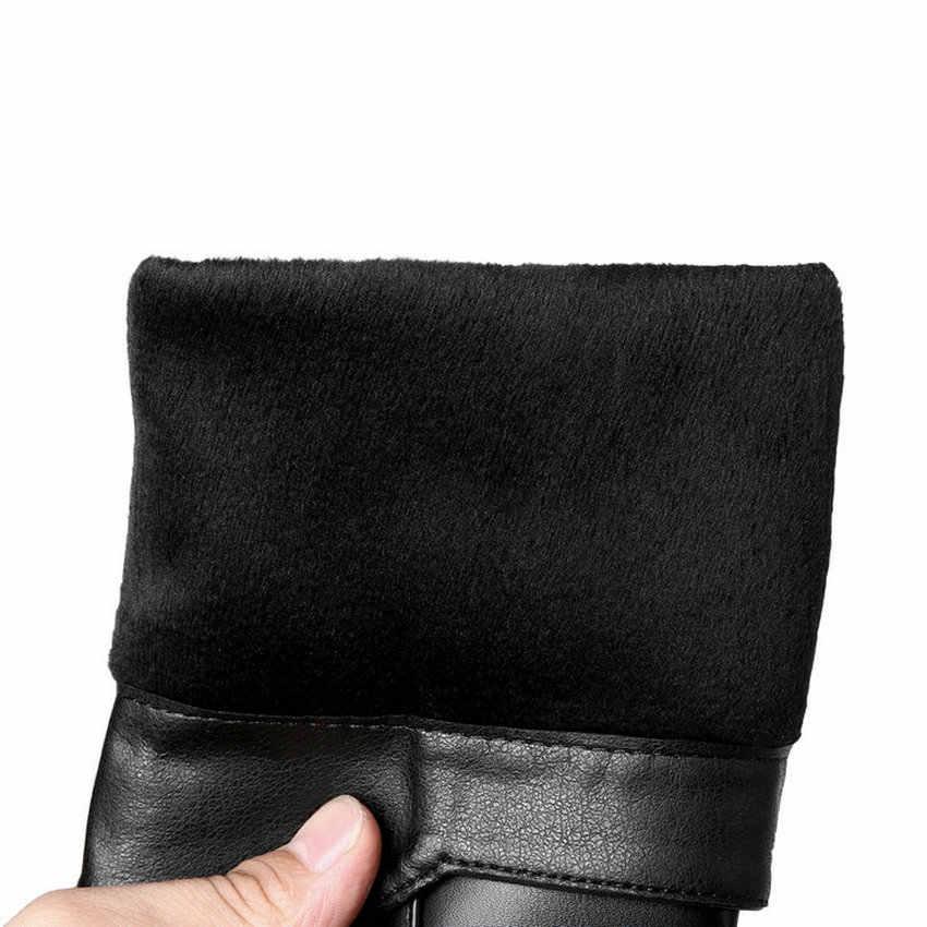 QUTAA 2020 Kadın Diz Yüksek Çizmeler Platformu Fermuar Kış çizmeler kadın ayakkabıları Kısa Peluş Pu Deri Zarif Kadın Çizmeler Boyutu 34- 43