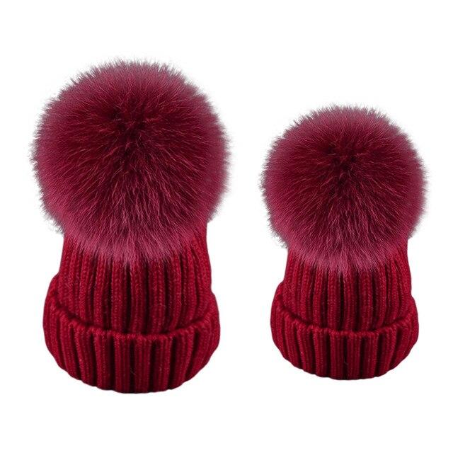 2pcs Mother Baby Hat Warm Beanie Hats Winter Real Fox Raccoon Fur Pompom Hat Female Cap Wool Knitted Beanies Kid's Women Gorros