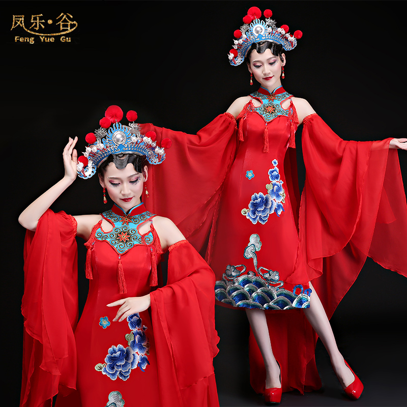 New Chinese Style Classical Dance Costumes Sleeves New Opera Costumes Drama Stage Clothing For Woman Freeshipping
