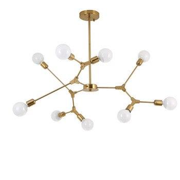 Nordic LED E27 26 Hanging Chandeliers Lights Lamps Branch Post Modern Gold Black Chandelier Lamp Lighting for Restaurant Living