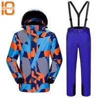 TENNEIGHT Winter men's ski suit skiing Snowboarding sets waterproof Windproof Warm Outdoor climbing Ski jacket + Pants male