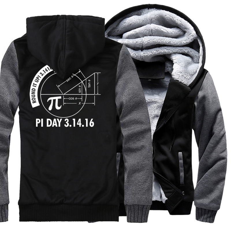 Fashion Streetwear Harajuku Hoodie 2017 Winter New Fleece Thick Sweatshirt Print Pi Day 3.1416 Round It Up Math Graph STEM Hoody