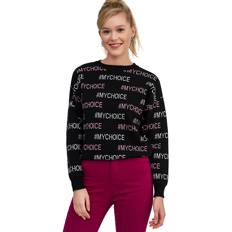 Sweaters befree 1831329857-55 jumper sweater pullover women clothes for female apparel TMallFS embroidered v neck pullover sweater