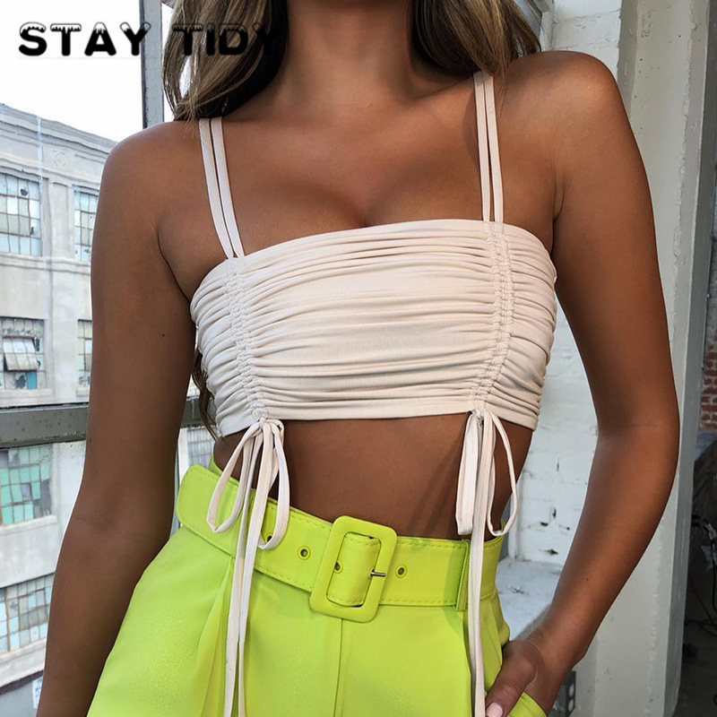 STAY TIDY Lace Up Drawstring Slim Crop Tops 2019 Summer Women Spaghetti Straps Slash Neck Camisole Tops Sexy Party Bodycon Camis in Camis from Women 39 s Clothing