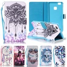 For Huawei P9 Lite Case Leather Wallet & Silicone Flip Case Phone Cover For Huawei P9 Lite Cover Cute Owl Cartoon Phone Cases
