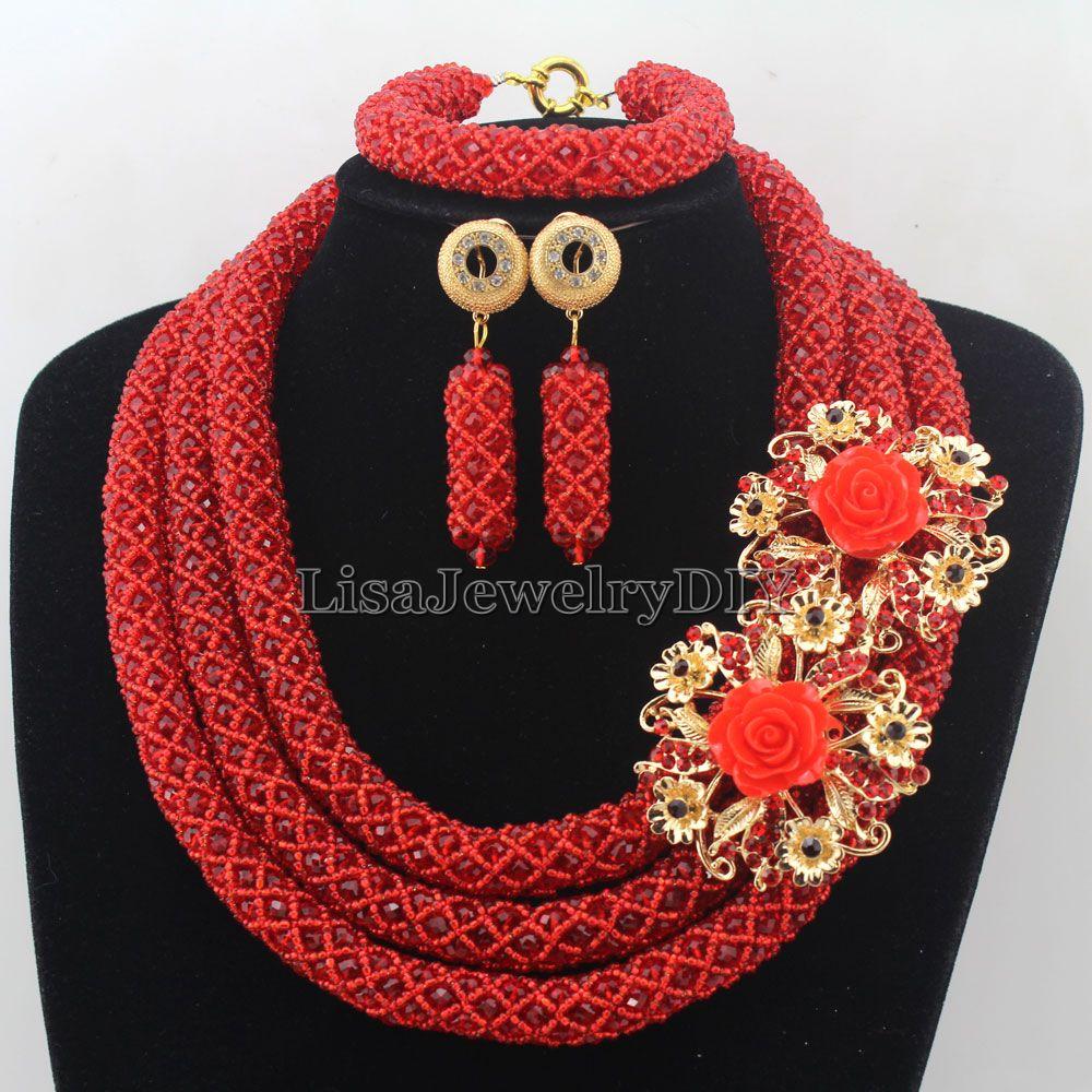 Fashionable African Beads Jewelry Sets Crystal Jewelry Set Nigerian Wedding Necklace Womens Jewellery Set Jewelry Sets HD7267