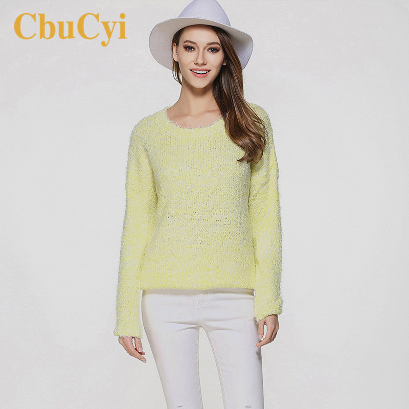 CbuCyi 2018 Women Tops and Sweaters Plus Size Long Sleeve O-neck Knitted Shirt Sweaters Female Solid Casual Pullovers Jerseys