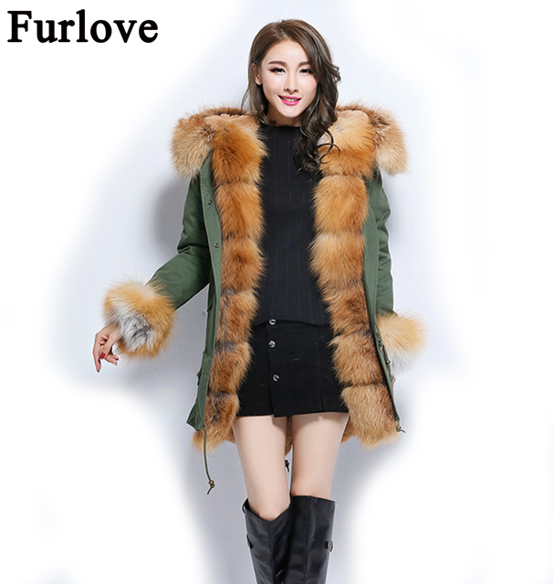 Furlove Russian Winter Coats 100% Real Rex Rabbit Fur Parka With Large Fox Hood Women Jacket