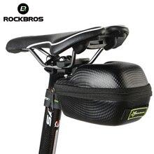 ROCKBROS Waterproof Bicycle Bag Leather Carbon Fiber MTB Mountain Bike Saddle Bag Seatpost Tail Rear Bag