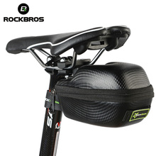 ROCKBROS Waterproof Bicycle Bag Leather Carbon Fiber MTB Mountain Bike Saddle Bag Seatpost Tail Rear Bag Cycling Accessories