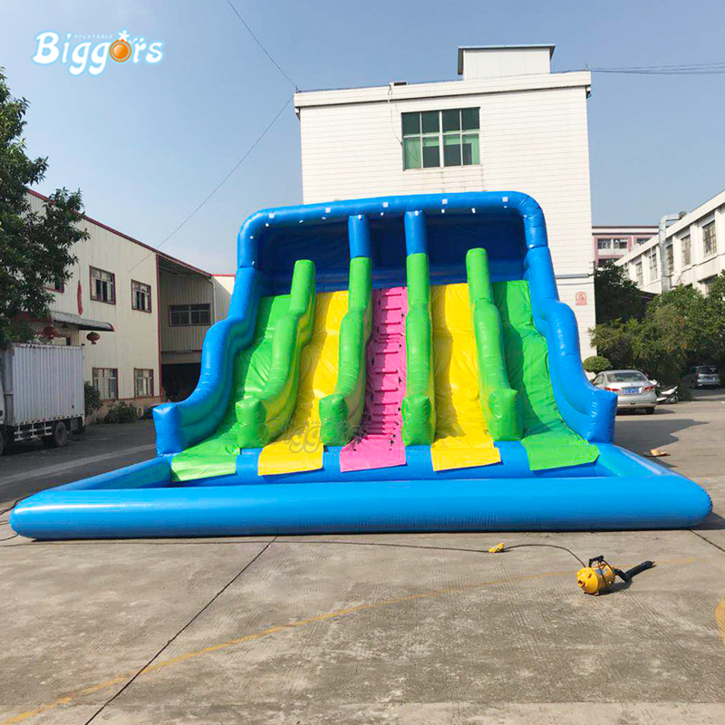 Factory Price Inflatable Backyard Water Slide Pool Water Park Slides Pool Slide With Blower For Sale commercial grade inflatable water game park inflatables double slide with pool for kids and adult on sale