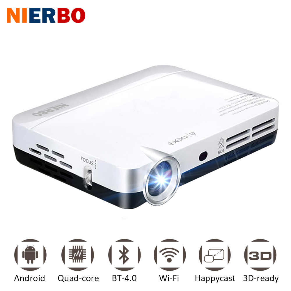 NIERBO Mini 3D Projector LED Full HD 1080P Projector DLP Android Portable Projector Smart Home Theater Pocket with Wifi HDMI USB support all 3d 1500ansi hd android bluetooth dlna miracast dlp 2d to 3d hdmi vga usb sd handy pocket led mini projector beamer